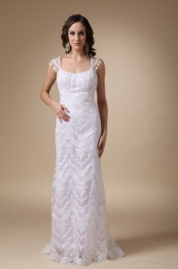 Fashionable Square Column Brush Train Satin and Lace Wedding Dress