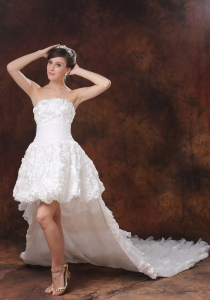 High-low Wedding Dress With Fabric With Rolling Flowers