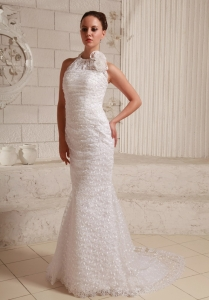 Lace Hand Made Flower Wedding Dress With Halter Brush Train
