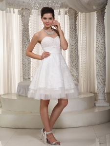 A-line Sweetheart Mini-length Taffeta Appliques Bridal Gown