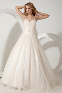 Ball Gown Straps Brush Train Tulle Appliques Bridal Gown