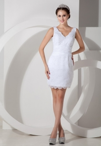 Low Price V-neck Mini-length Column Satin Lace Bridal Gown