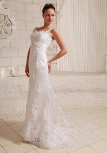 Straps Lace and Satin Wedding Dress With Beading Brush Train