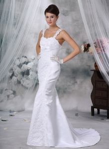 Trumpet / Mermaid Straps Satin Lace Appliques Bridal Gown