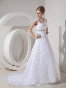Modest A-line Straps Court Train Lace Beading Wedding Dress