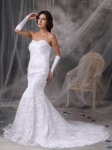 Perfect Trumpet / Mermaid Sweetheart Lace Beading Bridal Gown