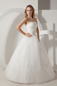 Strapless Floor-length Taffeta and Organza Embroidery Bridal Gown
