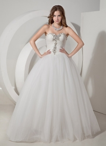A-line Sweetheart Chapel Train Taffeta Beading Wedding Gown