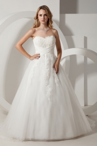 Sweetheart Court Train Taffeta and Organza Appliques Bridal Gown