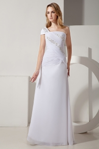 One Shoulder Floor-length Chiffon Ruch and Beading Wedding Gown