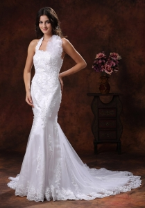 Halter top Mermaid/trumpet Wedding Gown with Lace Hand Flowers