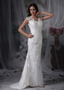 V-neck Column Wedding Bridal Gown with Lace Overlay for 2013