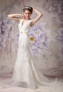 Modest V-neck Sheath Wedding Dress in Satin and Organza