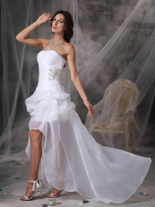 White High-low Strapless Chiffon Beading Wedding Bridal Gown