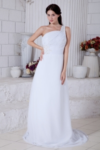White One Shoulder Brush Train Chiffon Appliques Wedding Gown