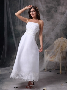 White Strapless Tea-length Satin Beading and Ruch Bridal Gown