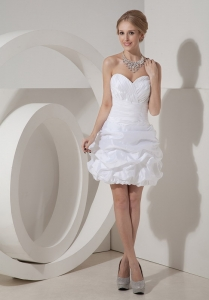White Mini-length Column Sweetheart Taffeta Ruch Prom Dress