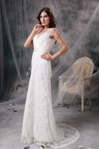 White V-neck Column Brush Train Lace Belt Wedding Gown