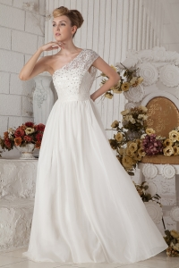 Empire One Shoulder Floor-length Chiffon Beading Wedding Dress