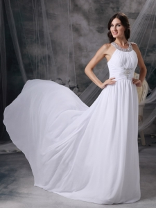 Empire Scoop Court Train Chiffon Beading and Ruch Bridal Gown