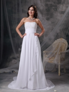 Strapless Court Train Chiffon Appliques and Ruch Bridal Gown