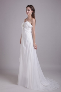 White Sweetheart Empire Brush Train Chiffon Wedding Dress