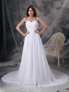 Sweetheart Court Train Chiffon Appliques and Ruch Wedding Gown