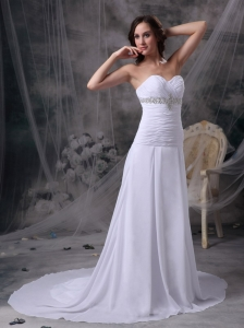 Sweetheart Court Train Chiffon Appliques and Ruch Wedding Dress