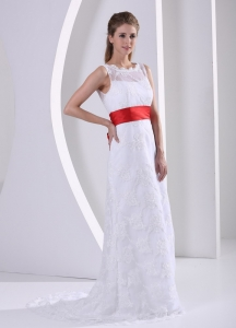 Column Bateau Lace Sash Romatic Wedding Bridal Gown For Hall