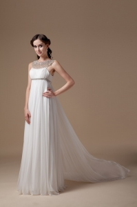 Elegant Empire Scoop Brush Train Chiffon Beading Wedding Dress