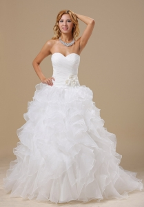 Ruffles Decorate Bodice Hand Made Flowers Organza Bridal Gown