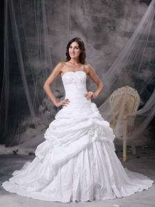 A-line Strapless Taffeta Appliques and Hand Made Flowers Wedding Gown