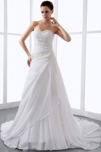 Affordable Sweetheart Wedding Dress Appliques Ruch