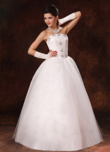 New Beaded Wedding Dress Strapless A-line Floor-length