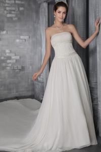 Strapless Cathedral Train Chiffon Pleat Wedding Dress