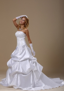 A-line Wedding Dress Lace Strapless Bodice Pick-ups