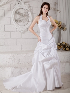 A-line Wedding Dress Halter Court Train Taffeta Ruch