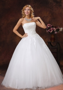 Appliques Wedding Dress Decorate Bodice A-line Strapless