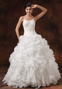 Wedding Dress Decorate Bust Ruffles Spaghetti Straps
