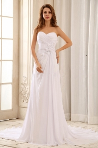 Wedding Dress Hand Made Flowers Ruched Bodice Sweetheart