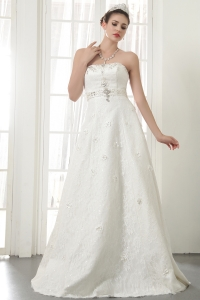 A-Line Princess Wedding Dress Strapless Lace Beading
