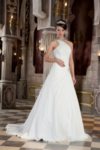 A-line One Shoulder Wedding Dress Court Chiffon Beading