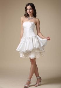 A-line Strapless Mini-length Taffeta Ruch Wedding Dress