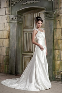 A-line Wedding Dress V-neck Court Train Satin Lace
