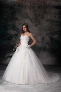 Ball Gown Strapless Court Train Tulle Appliques Wedding Dress
