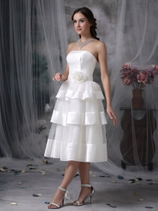 Empire Strapless Tea-length Organza Hand Made Flower Wedding Dress