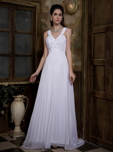 V-neck Taffeta and Chiffon Pleat and Beading Wedding Bridal Gown