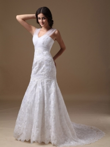 Mermaid Sweetheart Court Train Lace Wedding Dress Beautiful