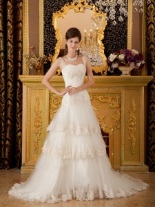 Straps Court Train Tulle Lace and Beading White Wedding Bridal Gown