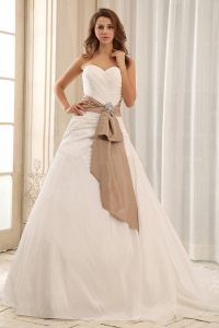 Sweetheart Wedding Dress With Sash and Ruched Bodice Taffeta